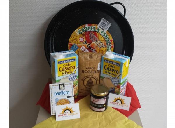 Paella pan emaille 32cm 2-3 pers. & starterspakket ingredienten