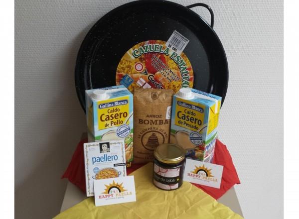 Paella pan emaille 40cm 8-12 pers. & starterspakket ingredienten
